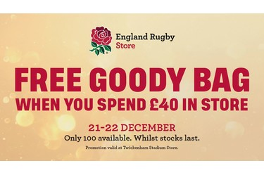 Free England Rugby Goody Bag in store at Twickenham Stadium