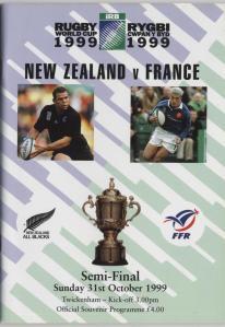 29. Match programme New Zealand v France 1999