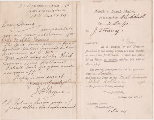 Invite to play for North Team 20 Dec 1890