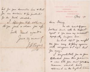 Letter of Sympathy 3 Jan 1891