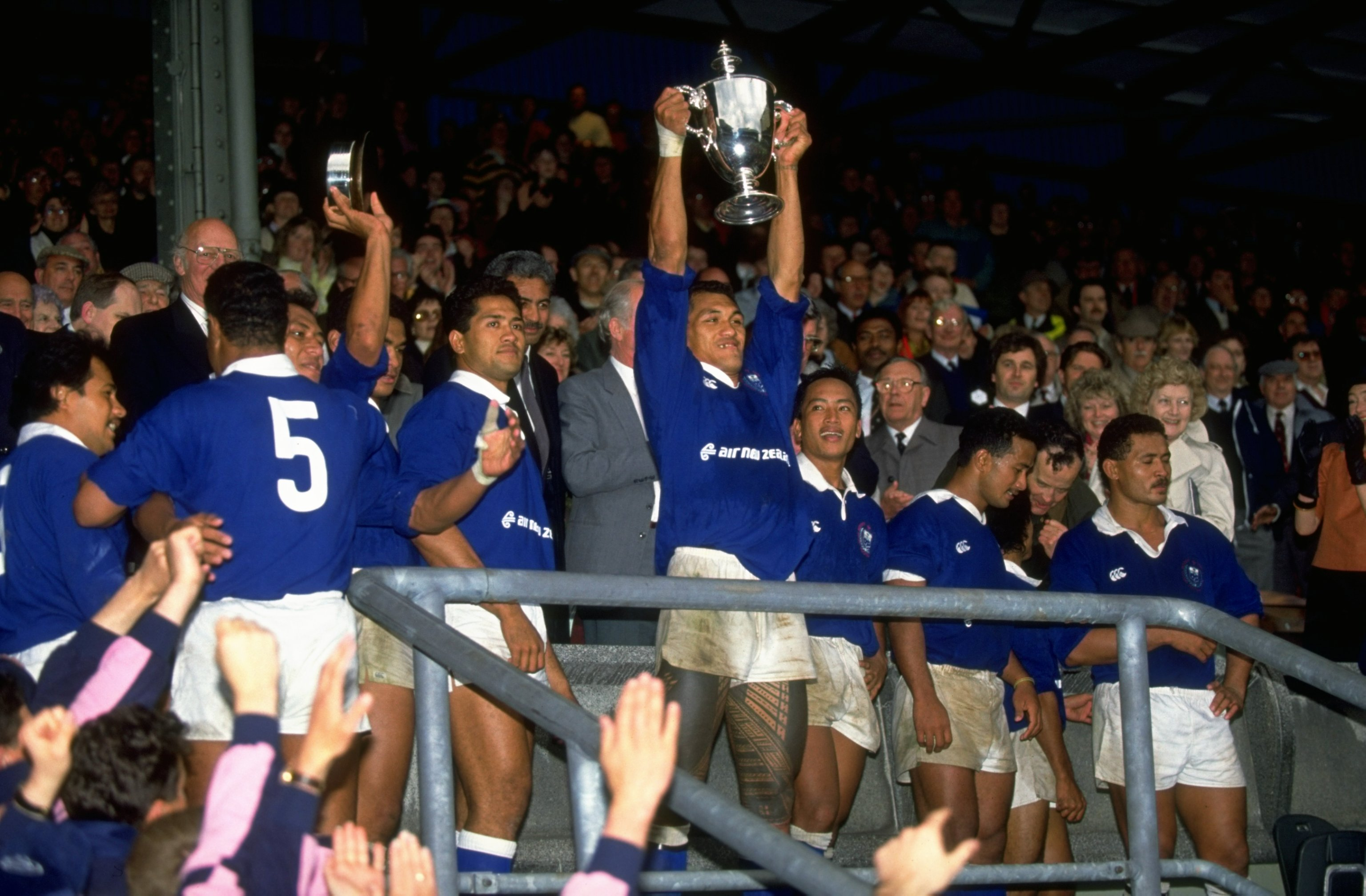 The Western Samoan team collect the trophy after winning the Middlesex Sevens