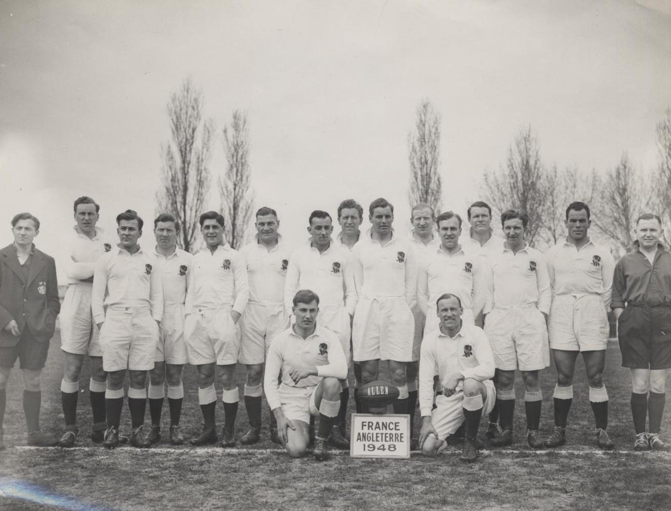 England rugby team v France, 1948