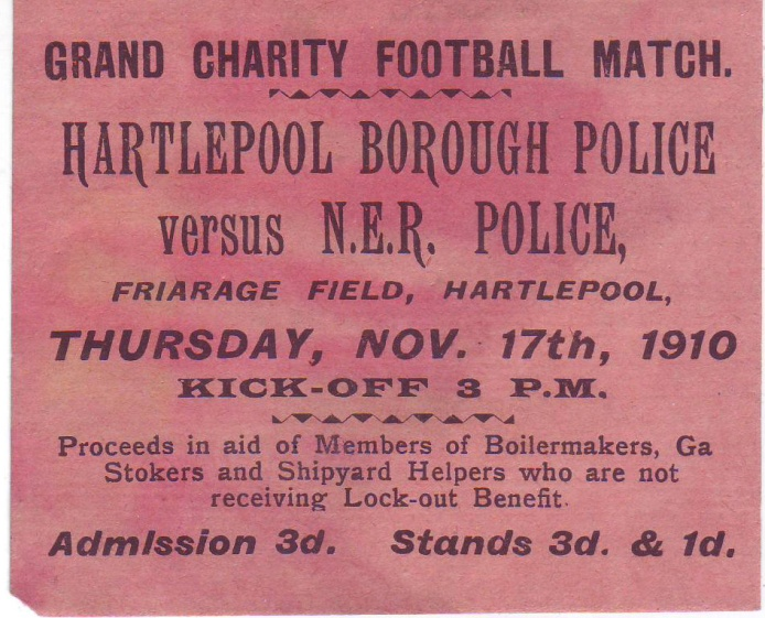 """Poster for Hartlepool Police v the """"Dock"""" Police, 17 November 1910. The match was to raise funds for those suffering as a result of industrial disputes."""