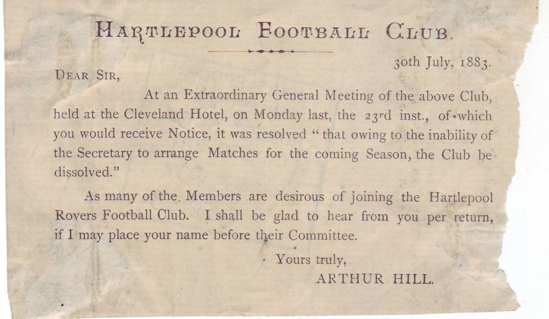 """The first """"rugby"""" code club in Hartlepool. Hartlepool Football Club formed in 1875 and dissolved to join Rovers in 1883."""