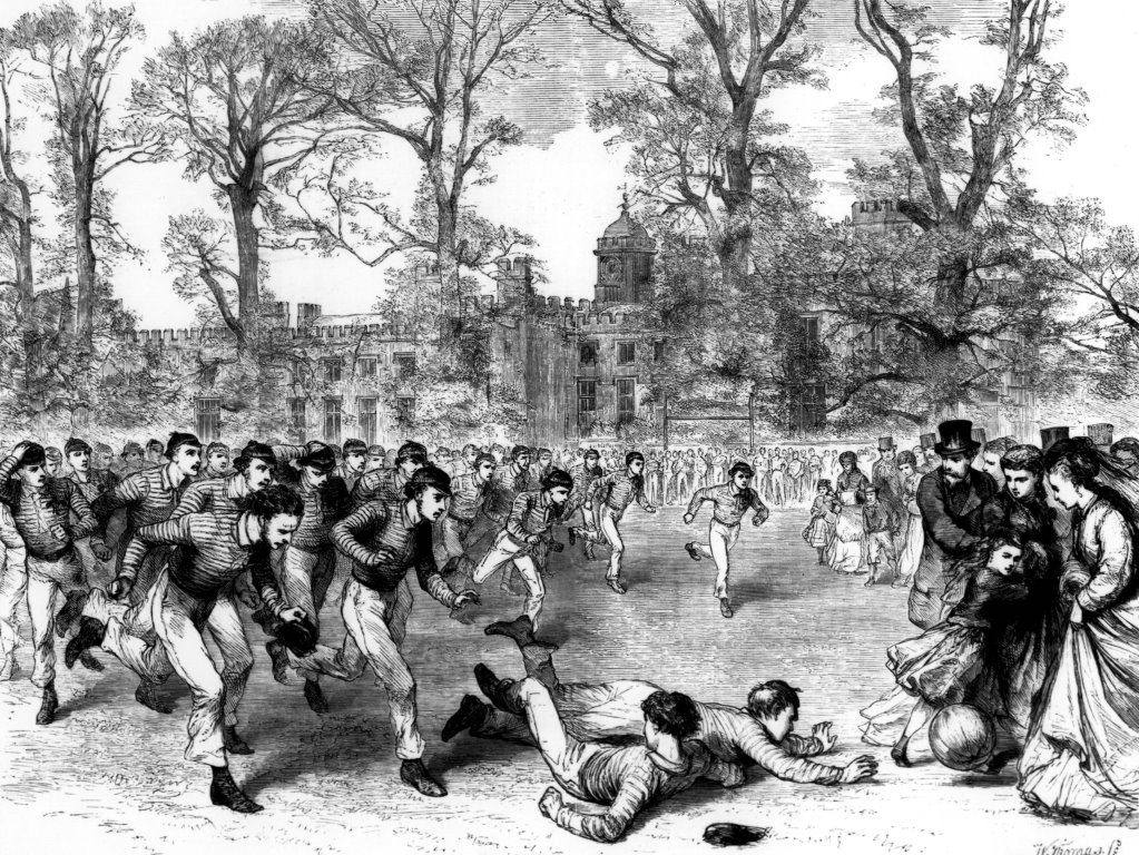 Black and white line drawing od a rugby match in front of the building of Rugby School.