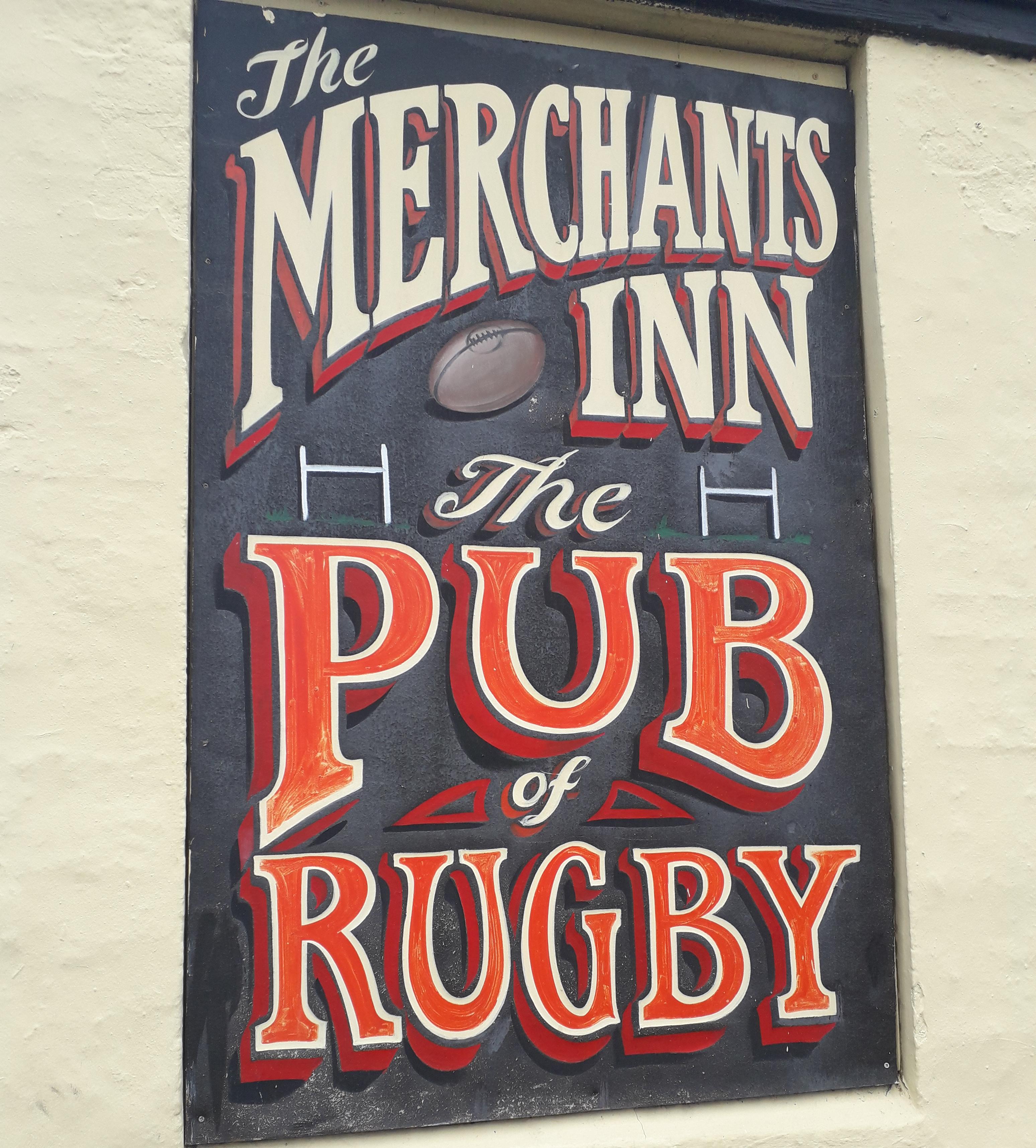 Colour photograph of the Merchants Inn pub sign