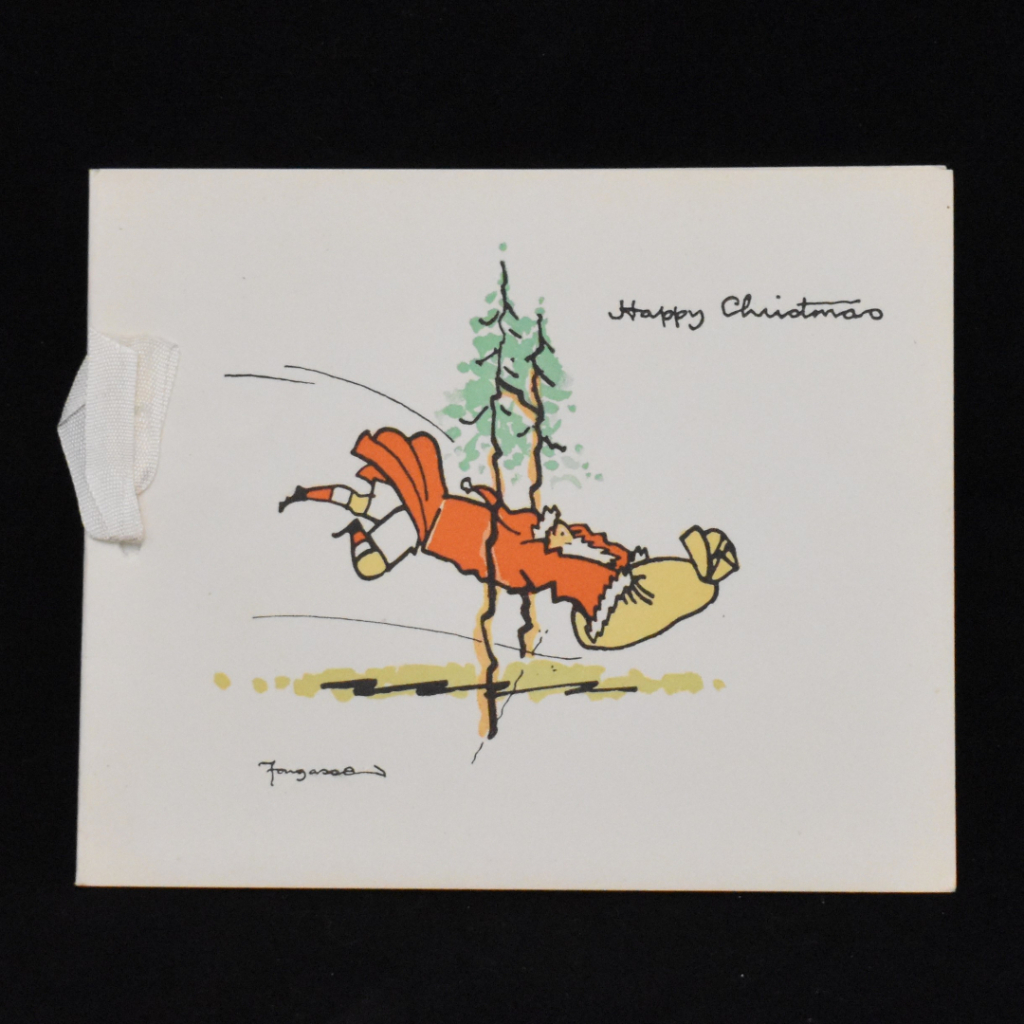 RFU Christmas card, of unknown date, shows Father Christmas diving over the try line with a sack of gifts, his red overcoat flying behind him to reveal rugby shorts and striped socks. He crosses the line between the posts – two festive fir trees.